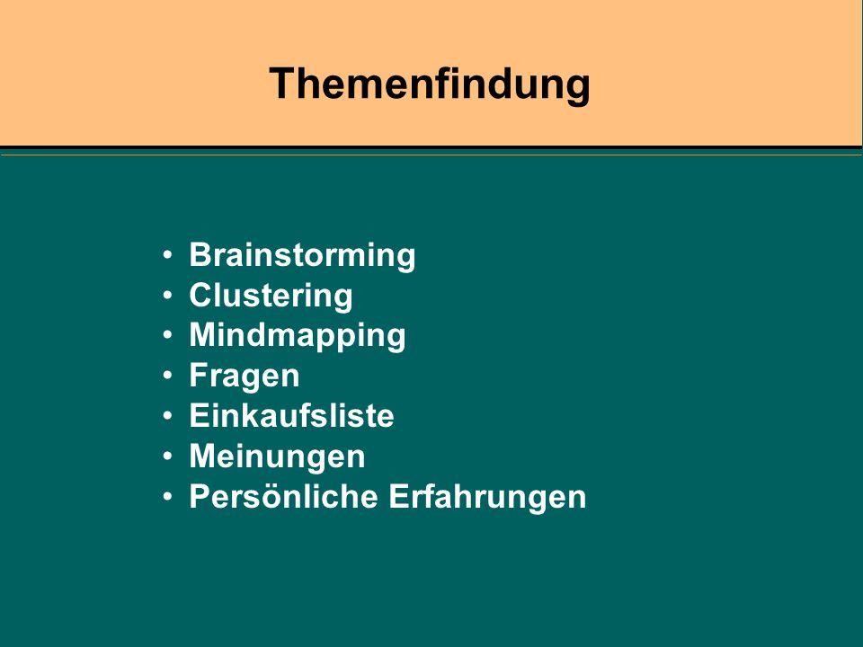 Themenfindung Brainstorming Clustering Mindmapping Fragen