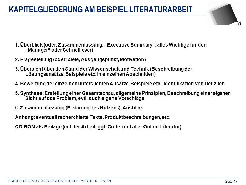 KAPITELGLIEDERUNG AM BEISPIEL LITERATURARBEIT