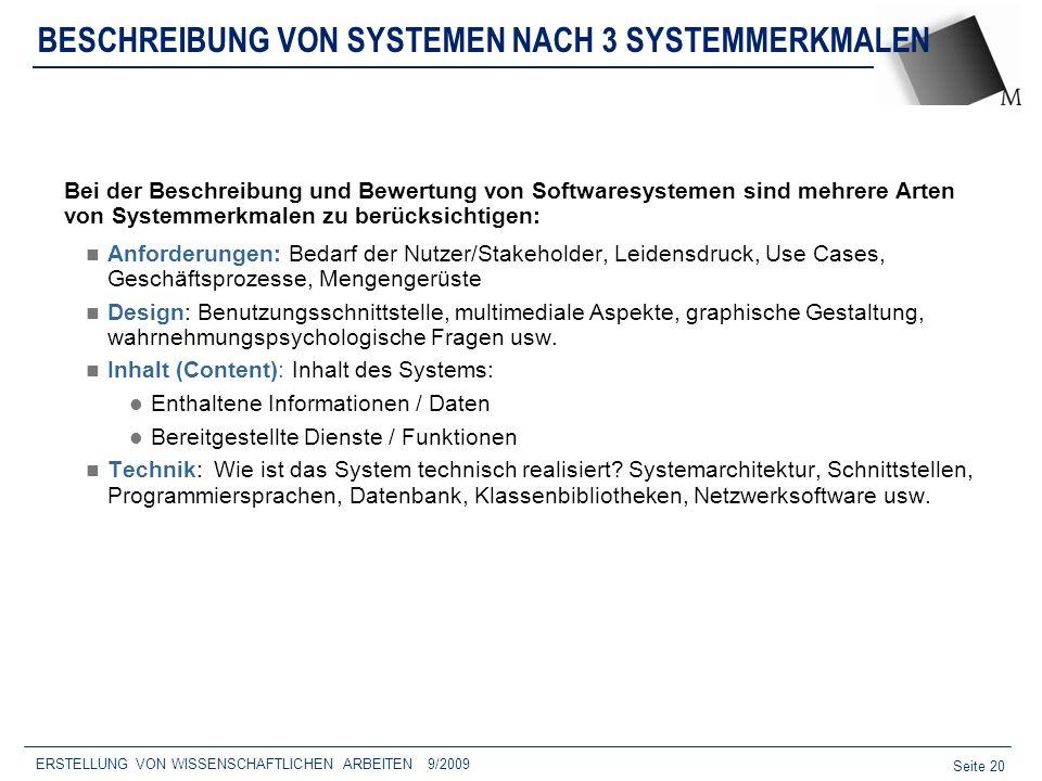 BESCHREIBUNG VON SYSTEMEN NACH 3 SYSTEMMERKMALEN