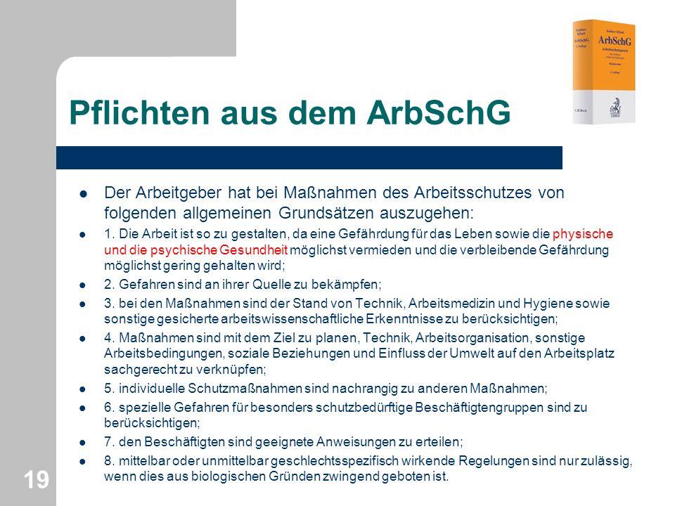 Pflichten aus dem ArbSchG