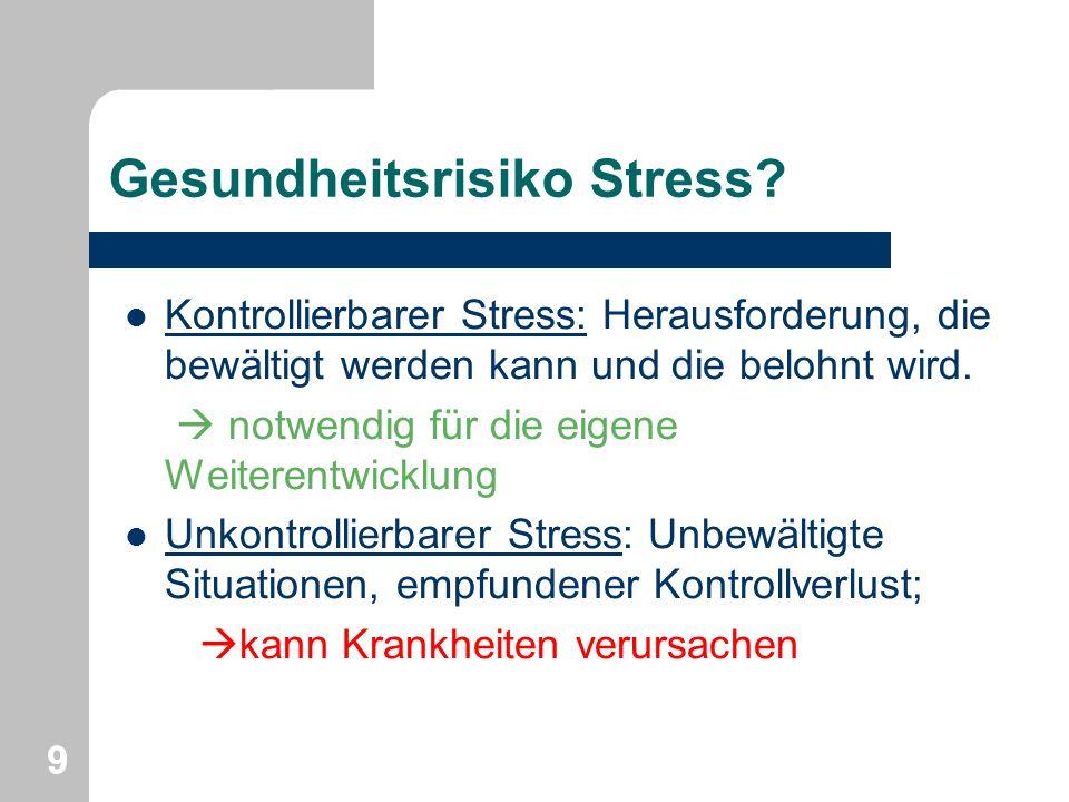 Gesundheitsrisiko Stress