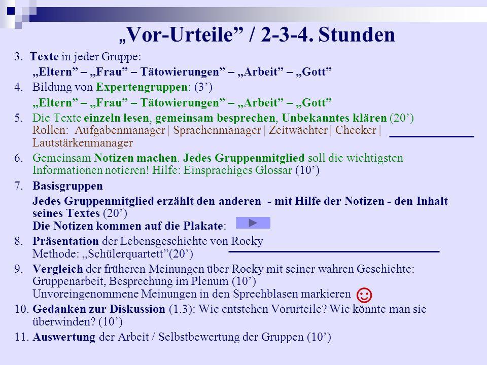 """""""Vor-Urteile / 2-3-4. Stunden"""