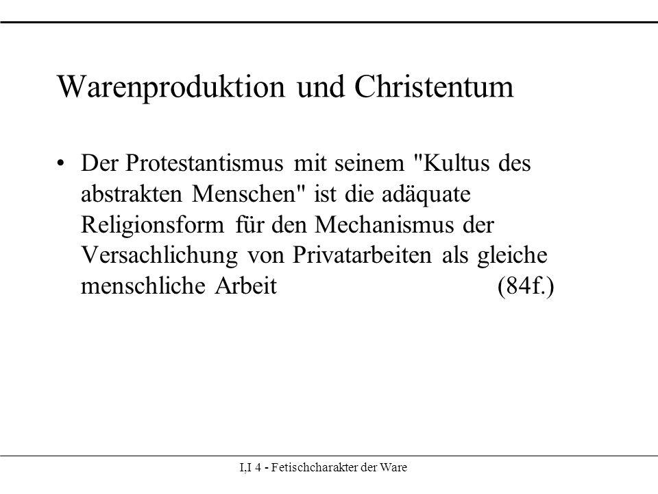 Warenproduktion und Christentum