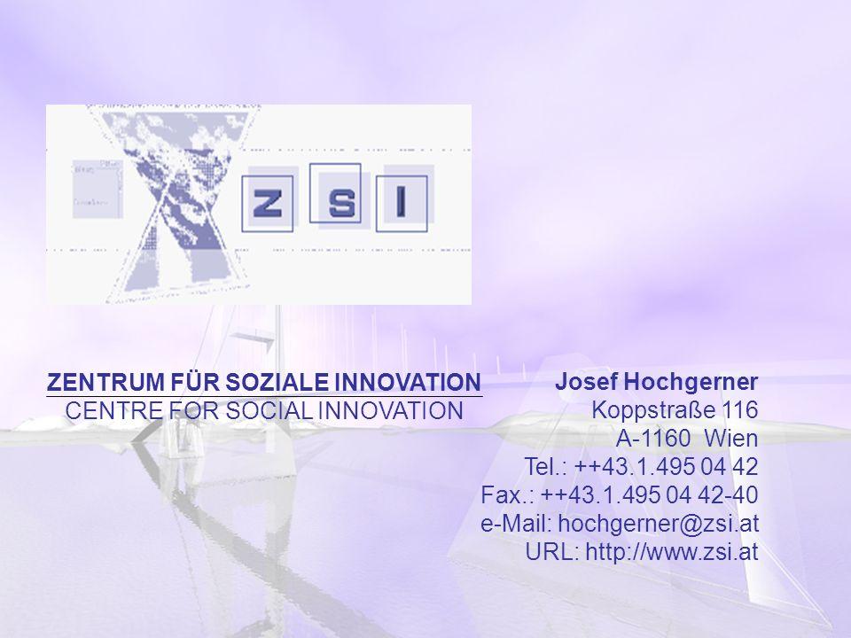 ZENTRUM FÜR SOZIALE INNOVATION CENTRE FOR SOCIAL INNOVATION