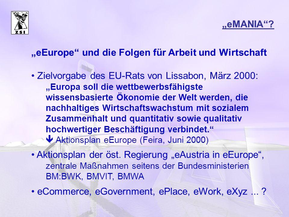 """""""eEurope und die Folgen für Arbeit und Wirtschaft"""