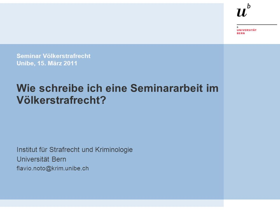Institut für Strafrecht und Kriminologie Universität Bern