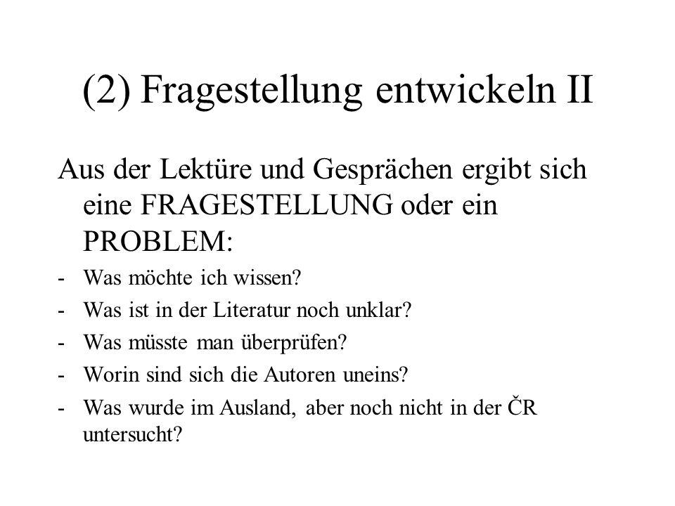 (2) Fragestellung entwickeln II