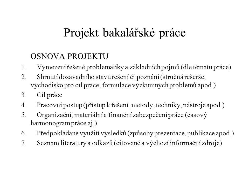 Projekt bakalářské práce