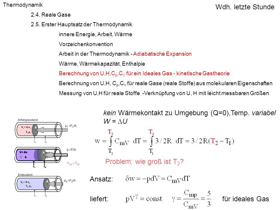 kein Wärmekontakt zu Umgebung (Q=0),Temp. variabel W = ∆U