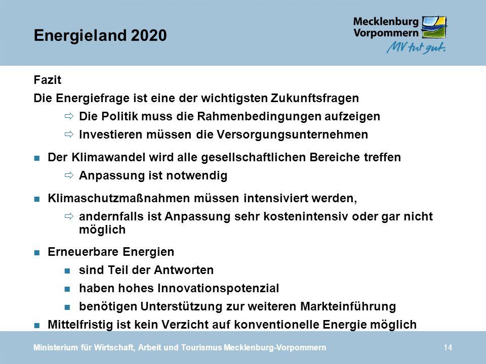 Energieland 2020 Fazit. Die Energiefrage ist eine der wichtigsten Zukunftsfragen. Die Politik muss die Rahmenbedingungen aufzeigen.
