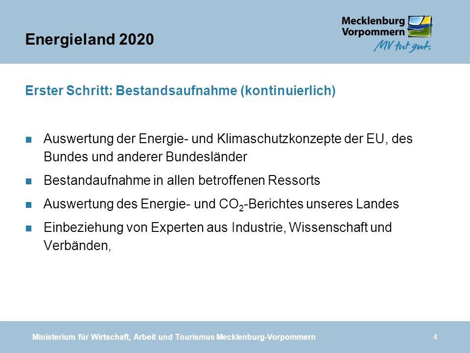 Energieland 2020 Erster Schritt: Bestandsaufnahme (kontinuierlich)