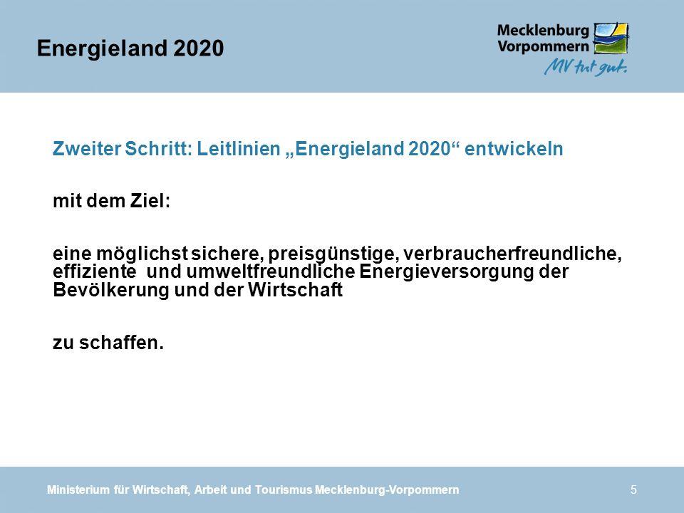 """Energieland 2020 Zweiter Schritt: Leitlinien """"Energieland 2020 entwickeln. mit dem Ziel:"""