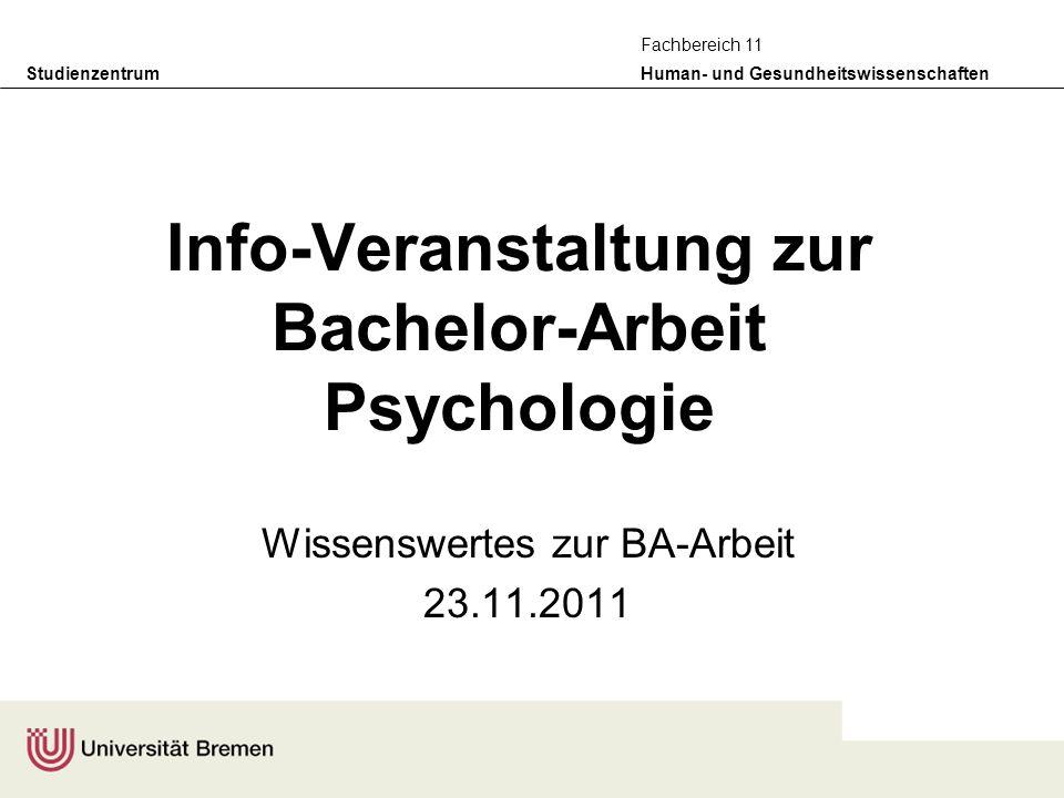 Info-Veranstaltung zur Bachelor-Arbeit Psychologie