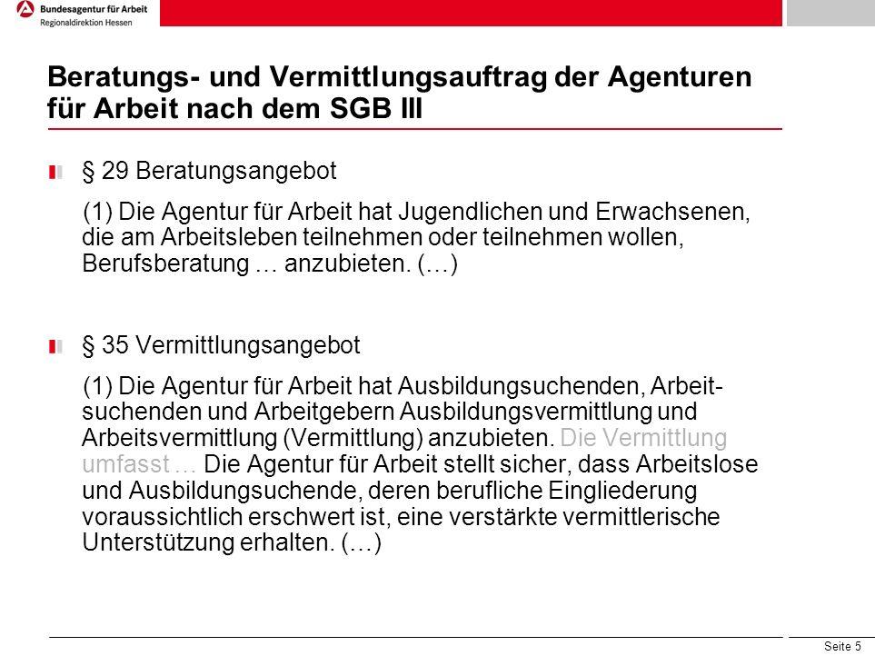 Beratungs- und Vermittlungsauftrag der Agenturen für Arbeit nach dem SGB III