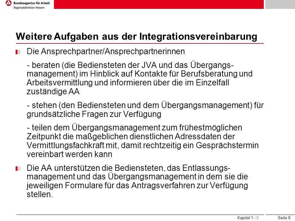 Weitere Aufgaben aus der Integrationsvereinbarung