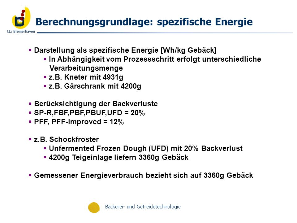 Berechnungsgrundlage: spezifische Energie