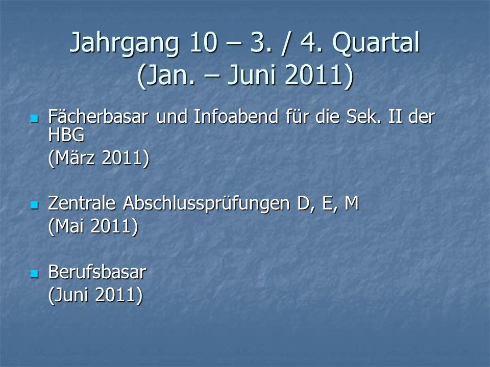 Jahrgang 10 – 3. / 4. Quartal (Jan. – Juni 2011)