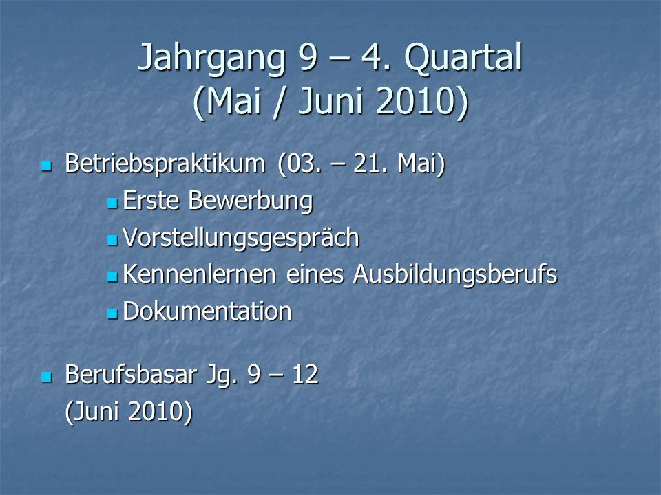 Jahrgang 9 – 4. Quartal (Mai / Juni 2010)
