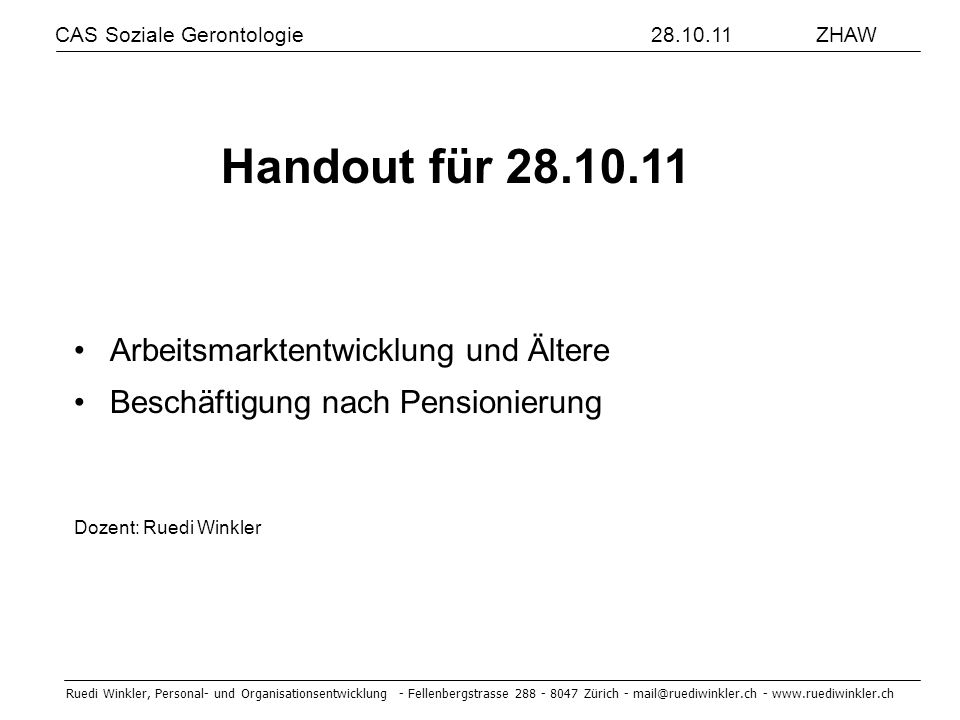 Handout für 28.10.11 Arbeitsmarktentwicklung und Ältere
