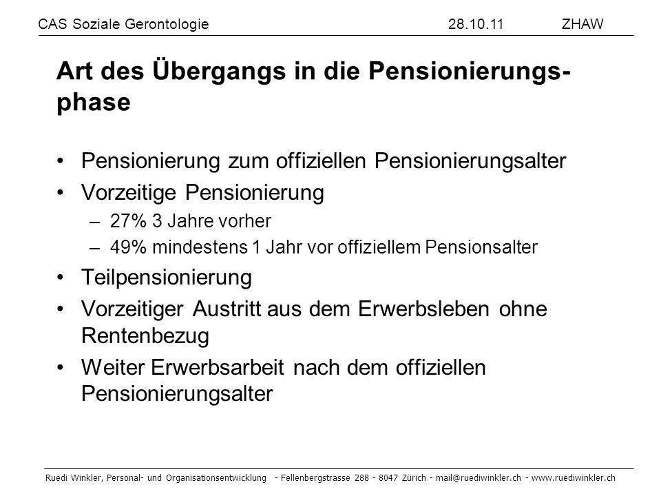 Art des Übergangs in die Pensionierungs-phase
