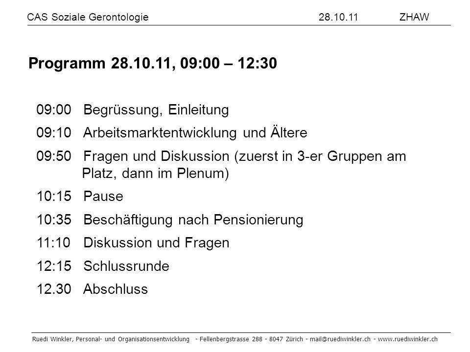 Programm 28.10.11, 09:00 – 12:30 09:00 Begrüssung, Einleitung
