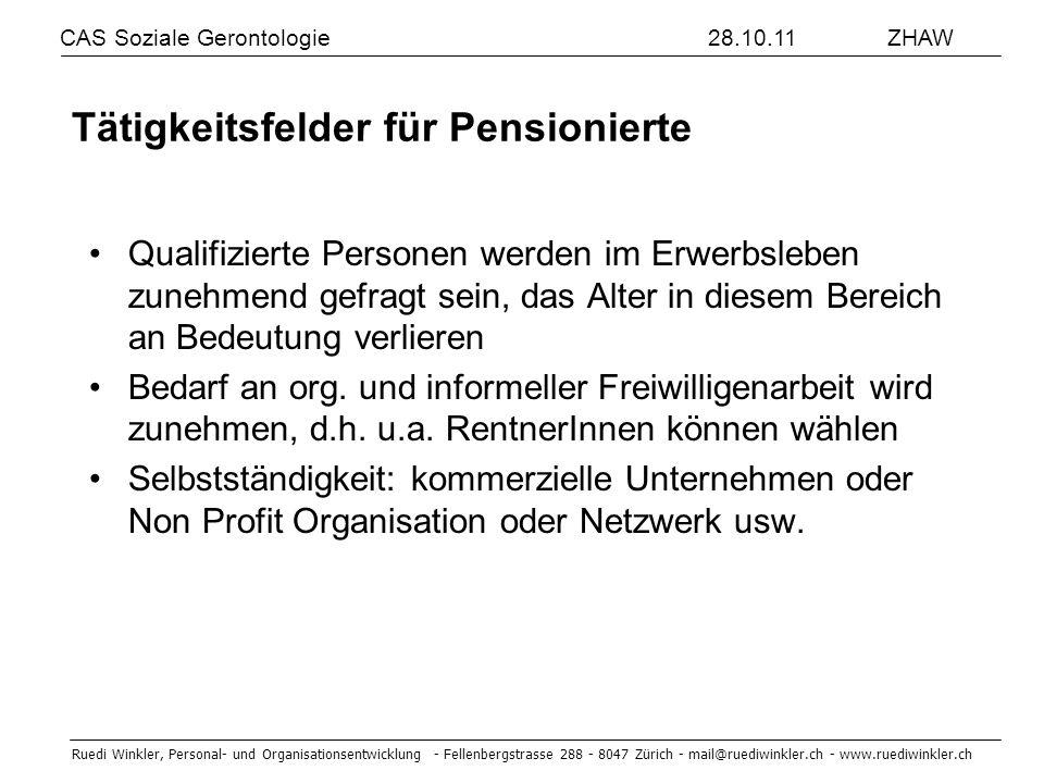 Tätigkeitsfelder für Pensionierte