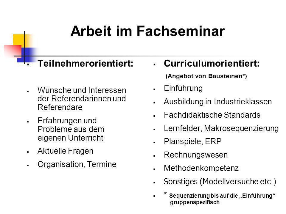 Arbeit im Fachseminar Teilnehmerorientiert: Curriculumorientiert: