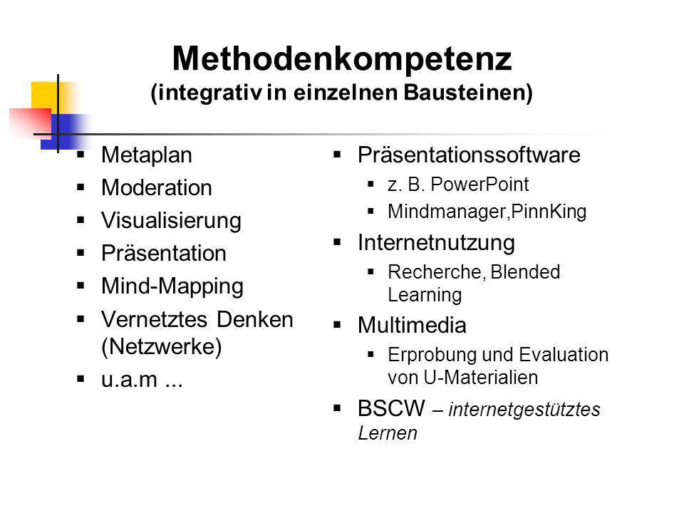 Methodenkompetenz (integrativ in einzelnen Bausteinen)
