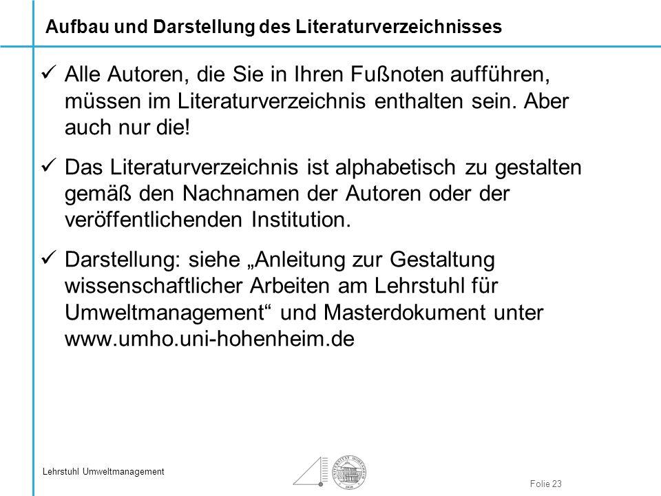 Aufbau und Darstellung des Literaturverzeichnisses