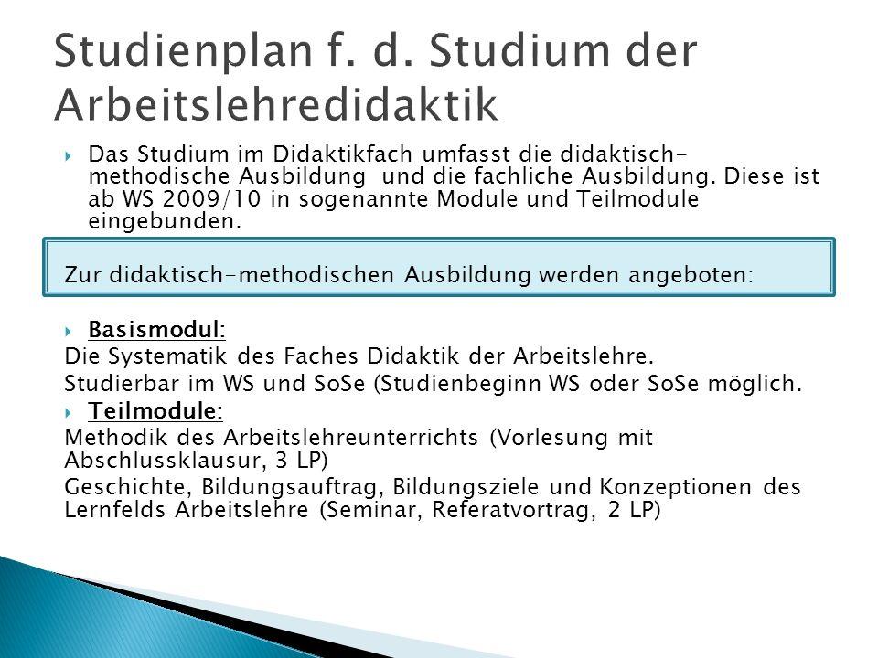 Studienplan f. d. Studium der Arbeitslehredidaktik