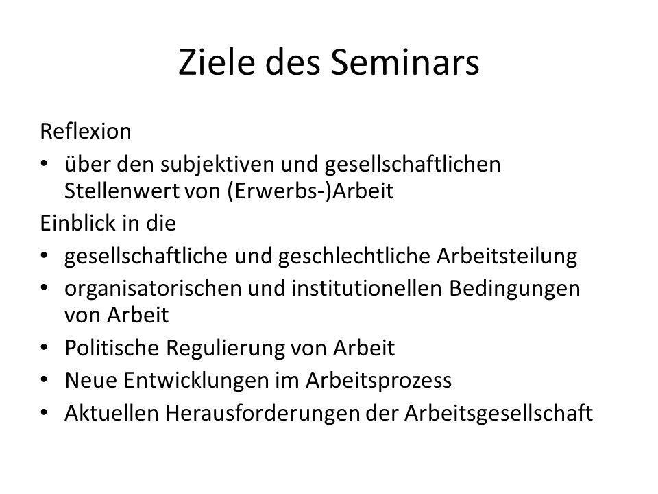 Ziele des Seminars Reflexion