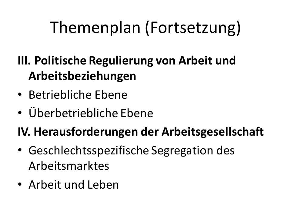 Themenplan (Fortsetzung)
