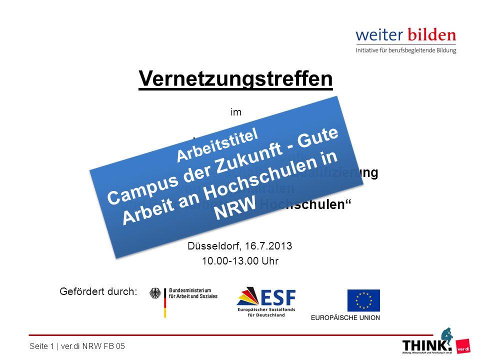 """Vernetzungstreffen im. ver.di-Projekt. """"Campus der Zukunft. Innovationspartnerschaft zur Qualifizierung von Personalräten."""