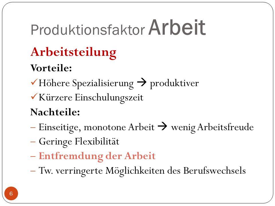 Produktionsfaktor Arbeit