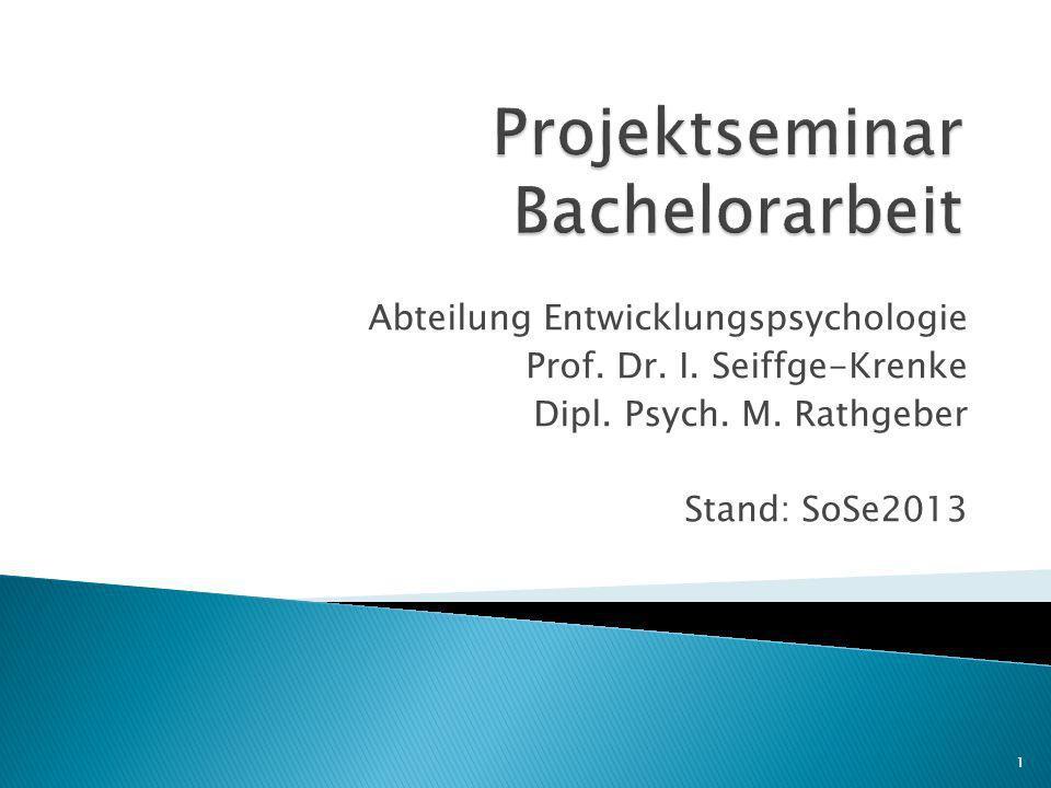 Projektseminar Bachelorarbeit