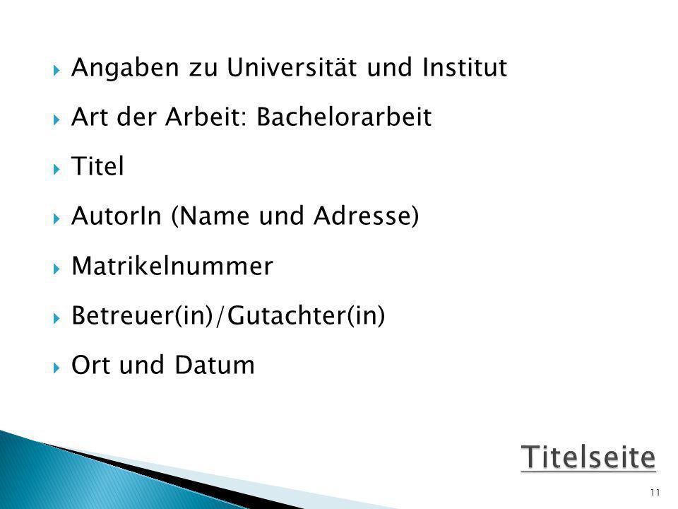 Titelseite Angaben zu Universität und Institut