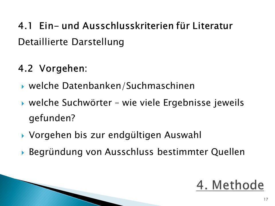 4.1 Ein- und Ausschlusskriterien für Literatur Detaillierte Darstellung