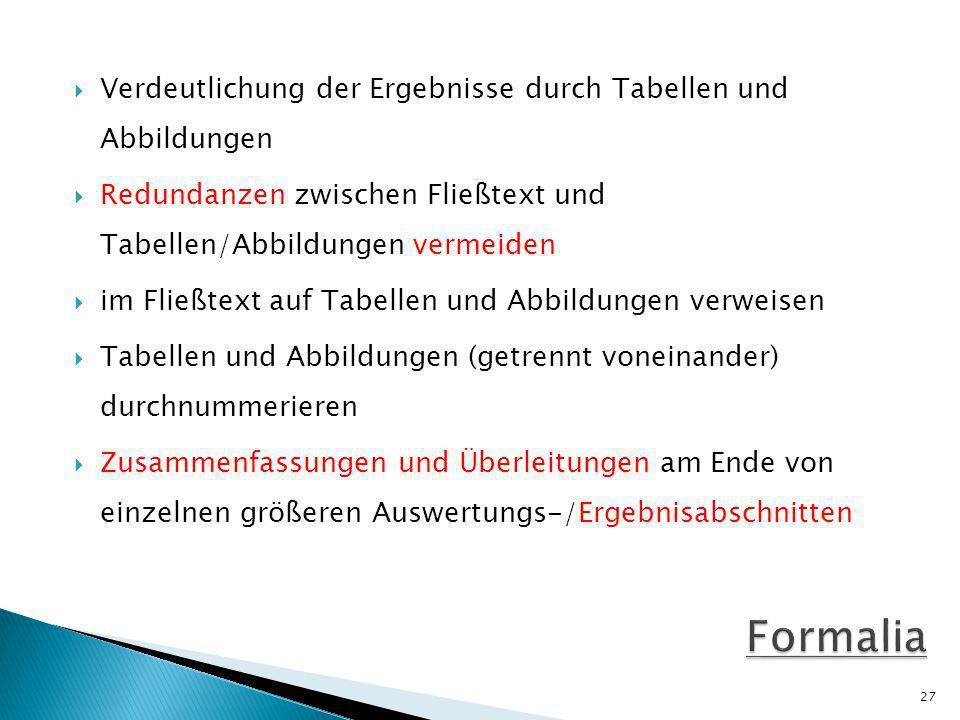 Formalia Verdeutlichung der Ergebnisse durch Tabellen und Abbildungen