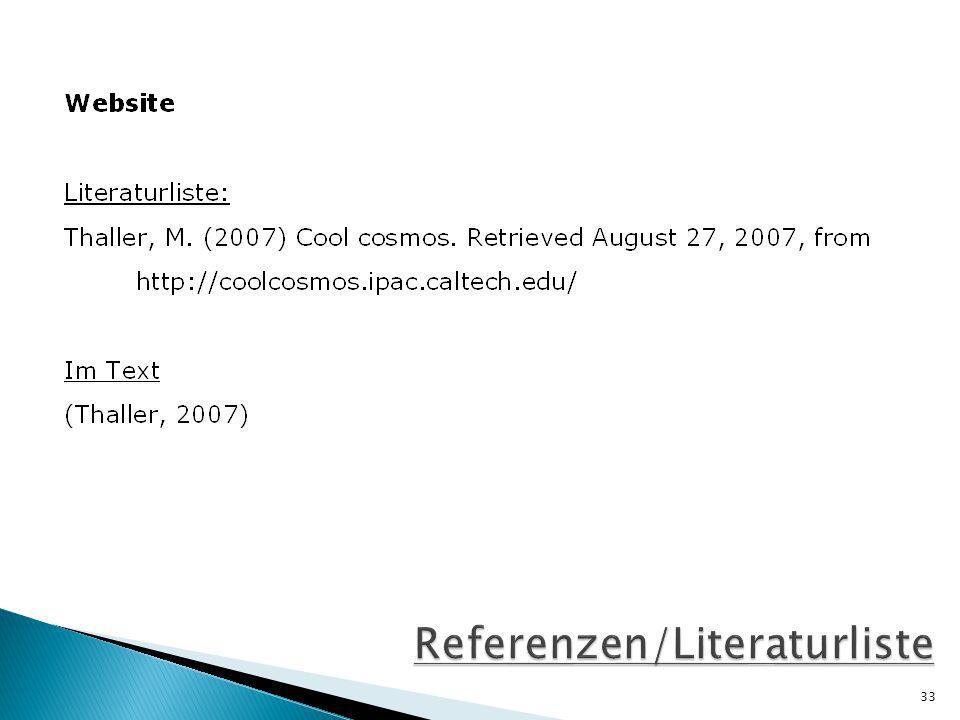 Referenzen/Literaturliste
