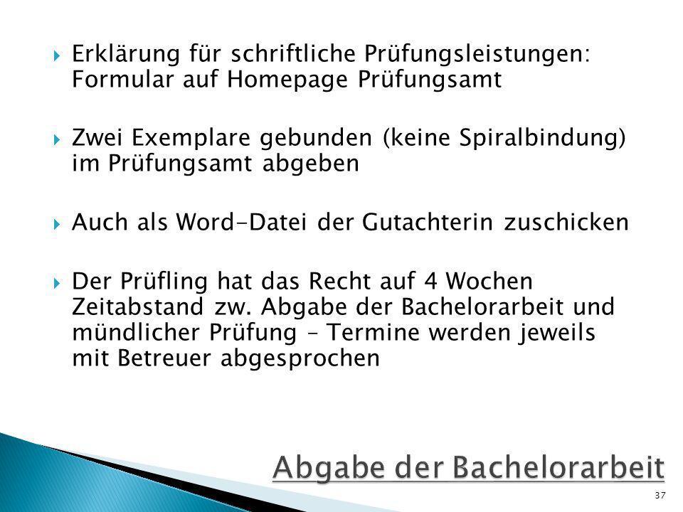 Abgabe der Bachelorarbeit