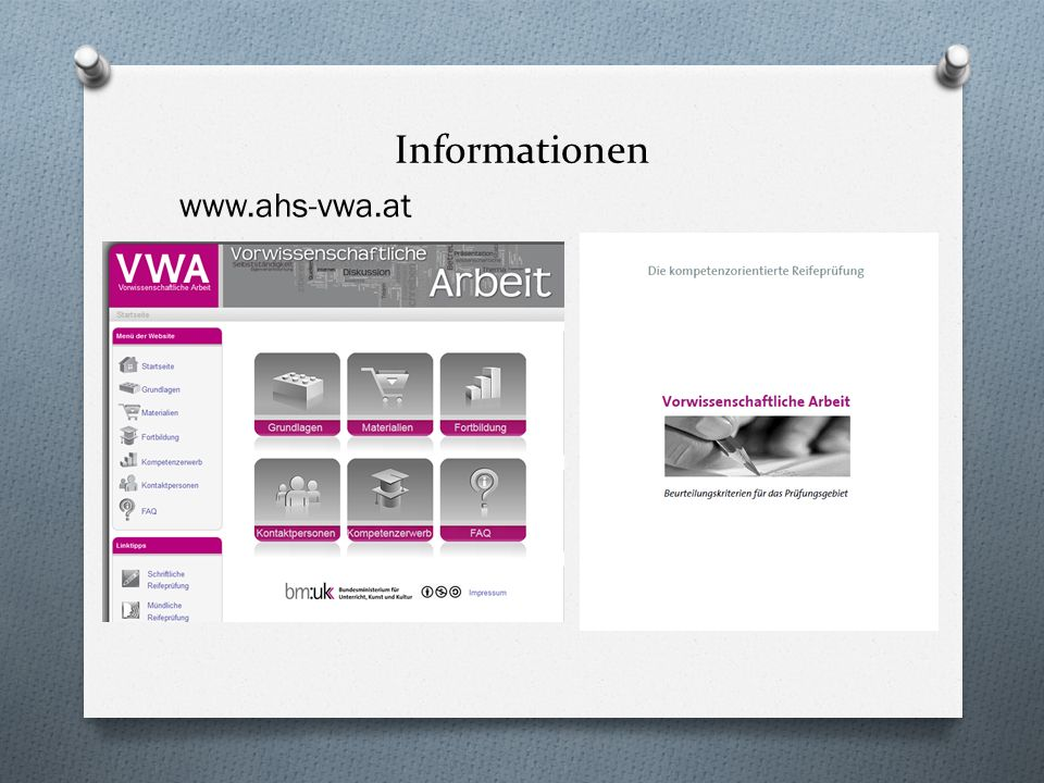 Informationen www.ahs-vwa.at