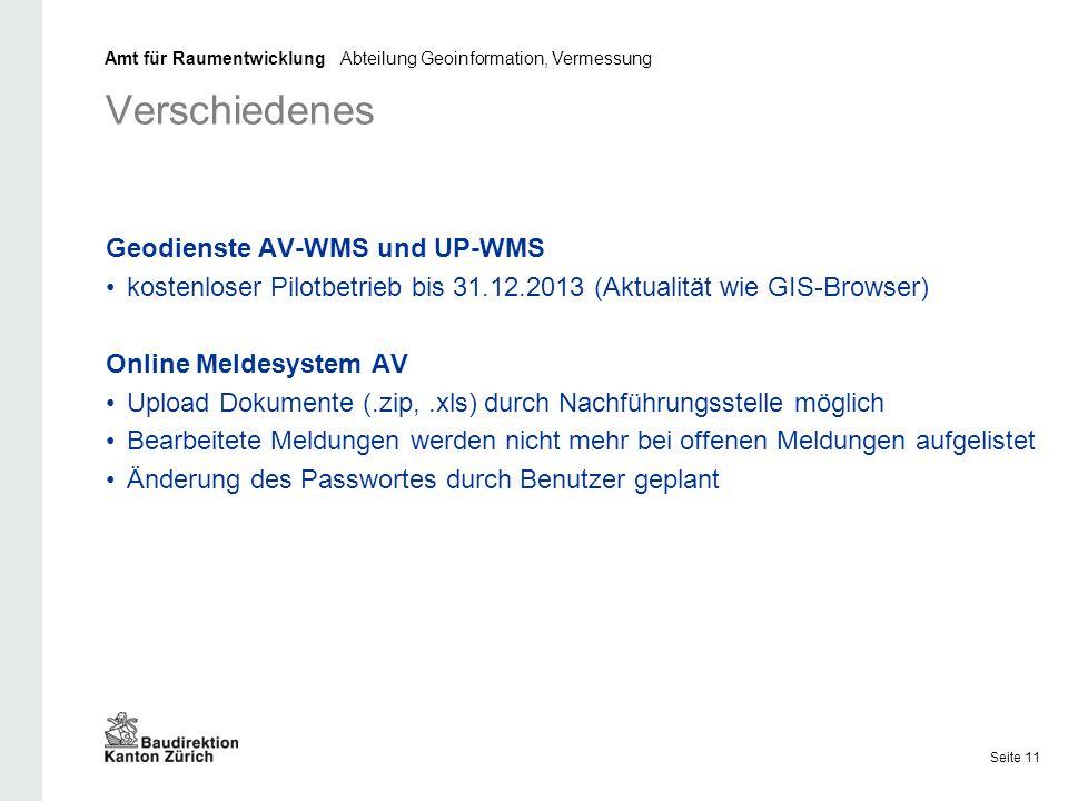 Verschiedenes Geodienste AV-WMS und UP-WMS