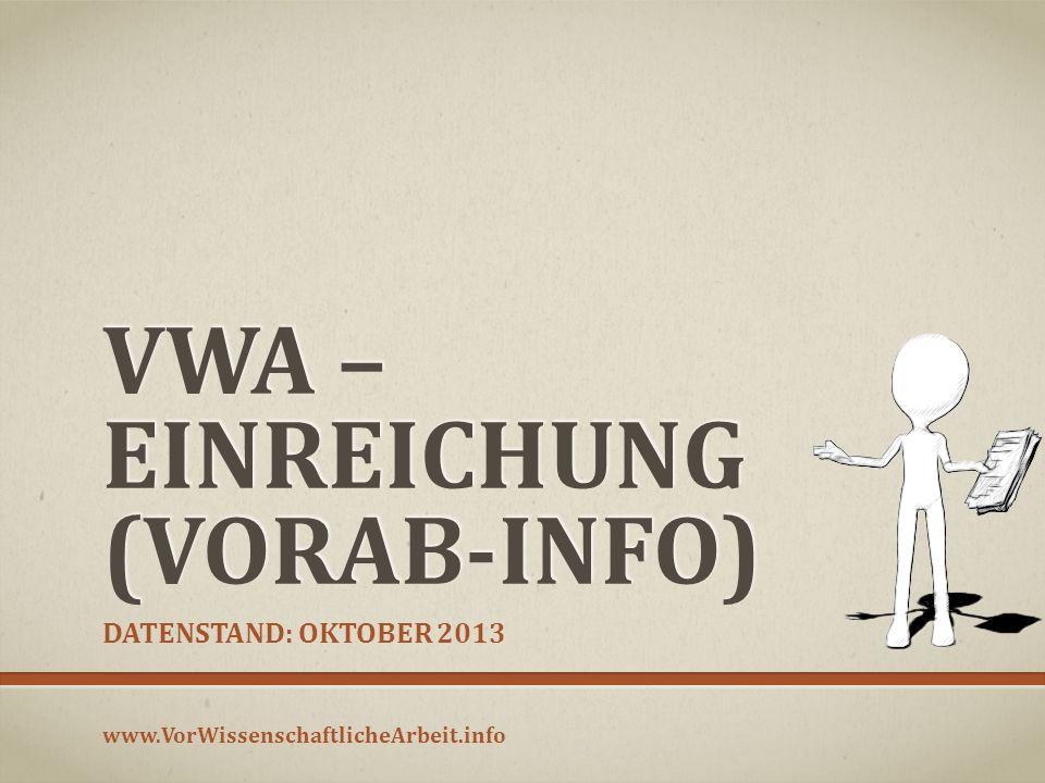VWA – Einreichung (Vorab-Info)