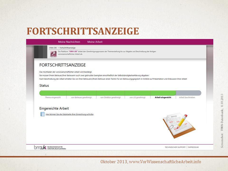 Fortschrittsanzeige Screenshot: VWA-Datenbank, 8.10.2013