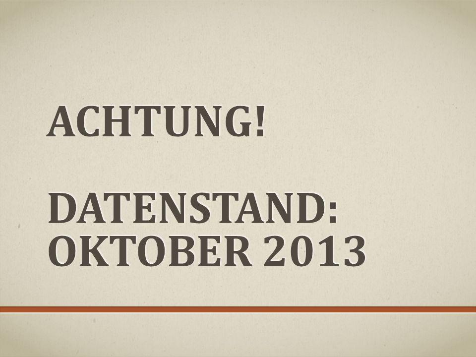 ACHTUNG! DATENSTAND: Oktober 2013