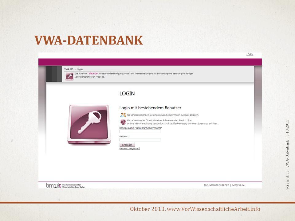 VWA-Datenbank S Screenshot: VWA-Datenbank, 8.10.2013