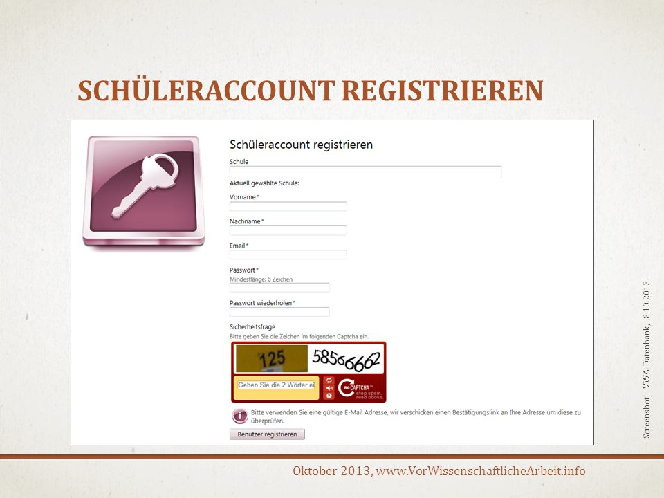 Schüleraccount registrieren