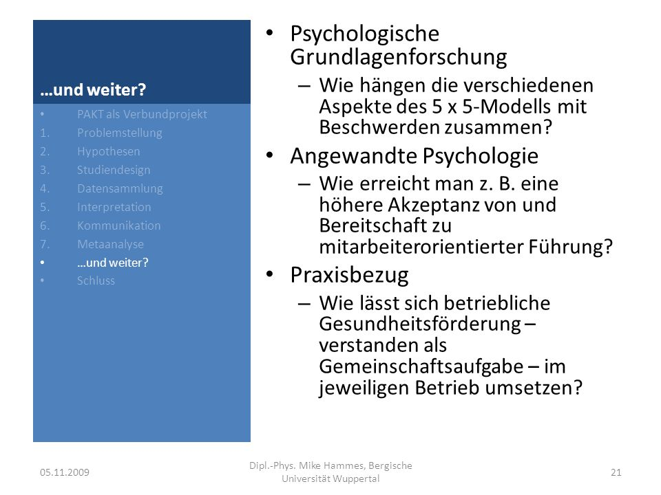 Dipl.-Phys. Mike Hammes, Bergische Universität Wuppertal