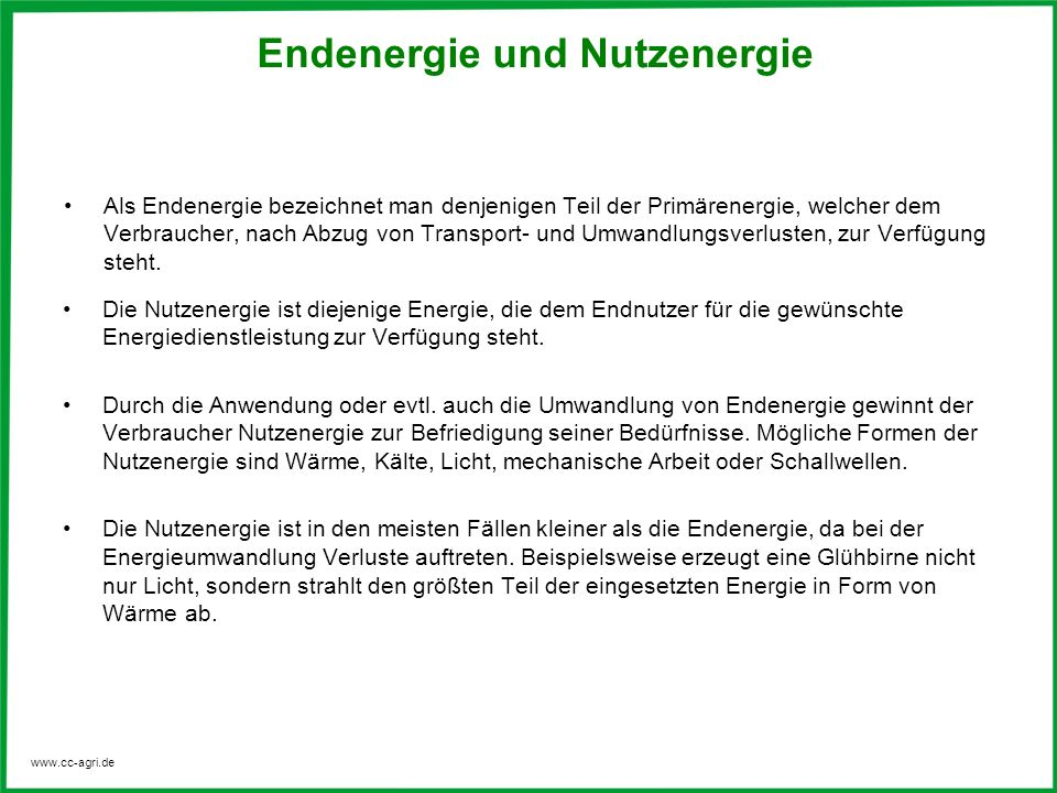 Endenergie und Nutzenergie