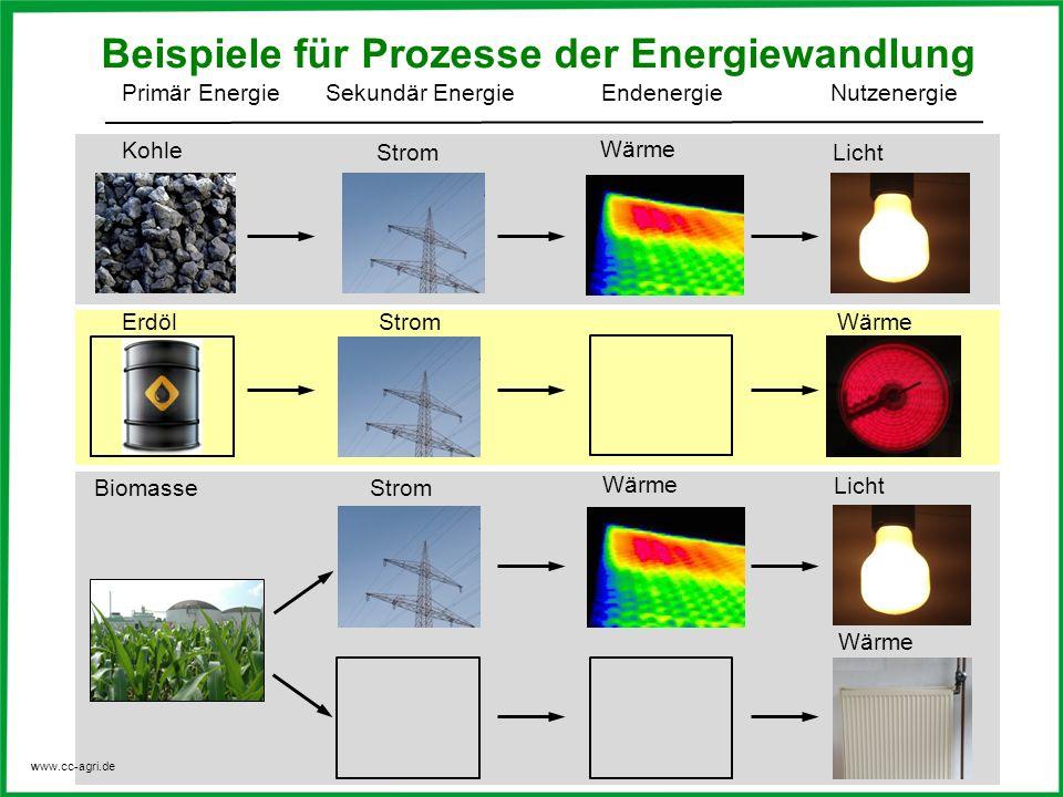 Beispiele für Prozesse der Energiewandlung